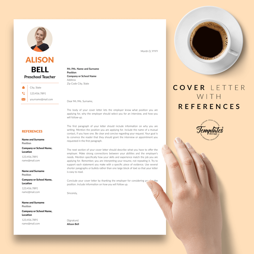 Teacher Resume Template - Alison Bell 07 - Cover Letter with References - New version