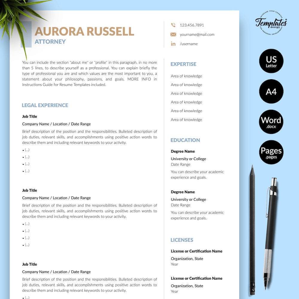 Attorney CV Template - Aurora Russell 01 - Presentation - New version