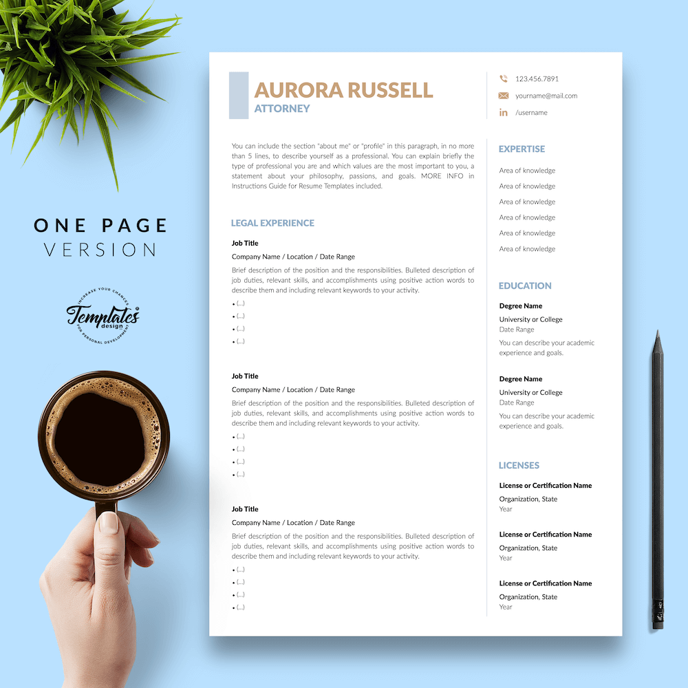 Attorney CV Template - Aurora Russell 02 - One Page Version - New version