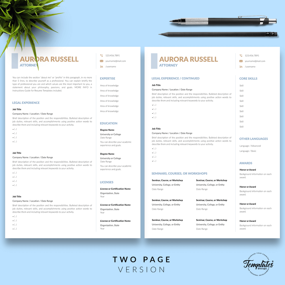 Attorney CV Template - Aurora Russell 03 - Two Page Version - New version