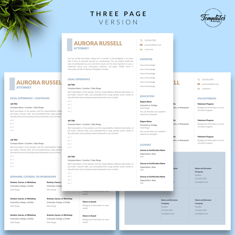 Attorney CV Template - Aurora Russell 04 - Three Page Version - New version