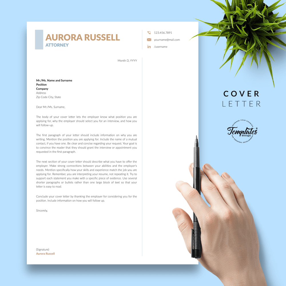 Attorney CV Template - Aurora Russell 05 - Cover Letter - New version
