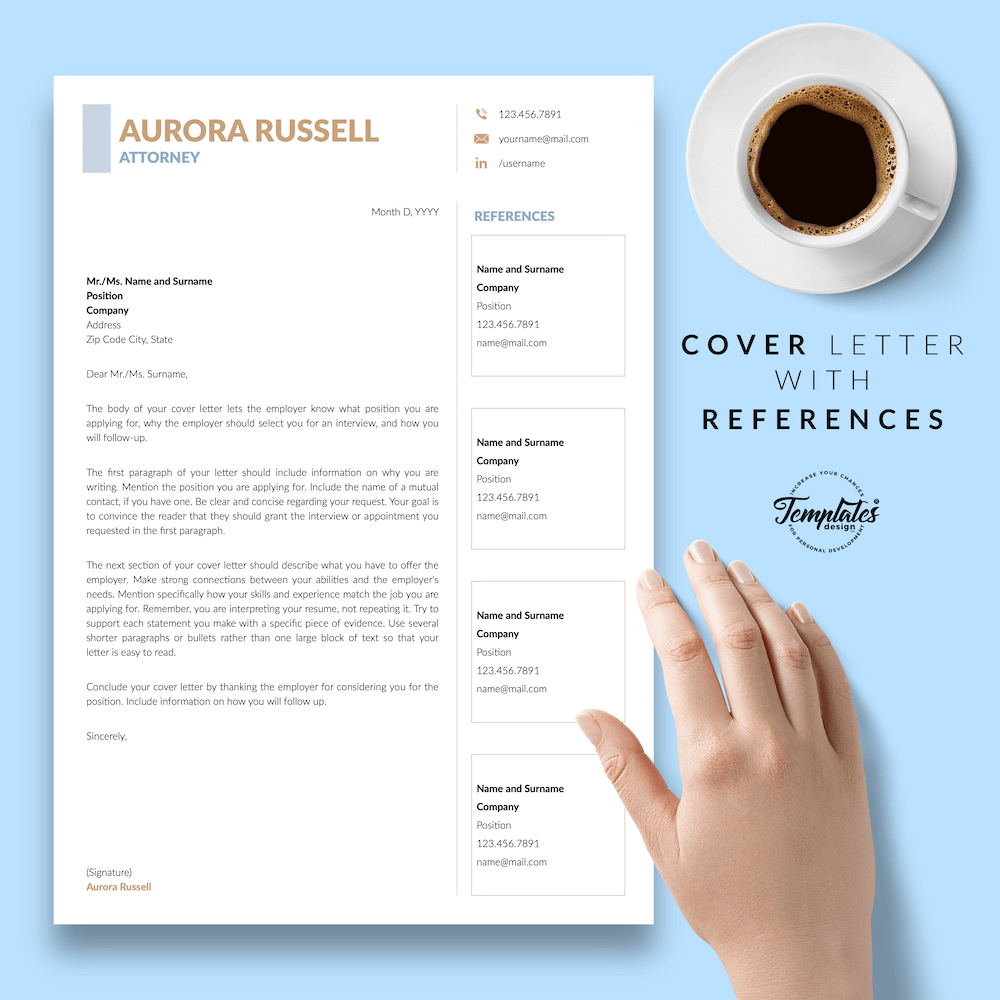 Attorney CV Template - Aurora Russell 07 - Cover Letter with References - New version
