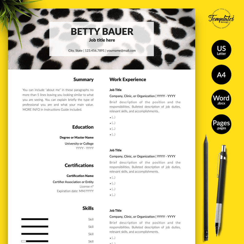 Animal Care Resume Template - Betty Bauer 01 - Presentation - New version