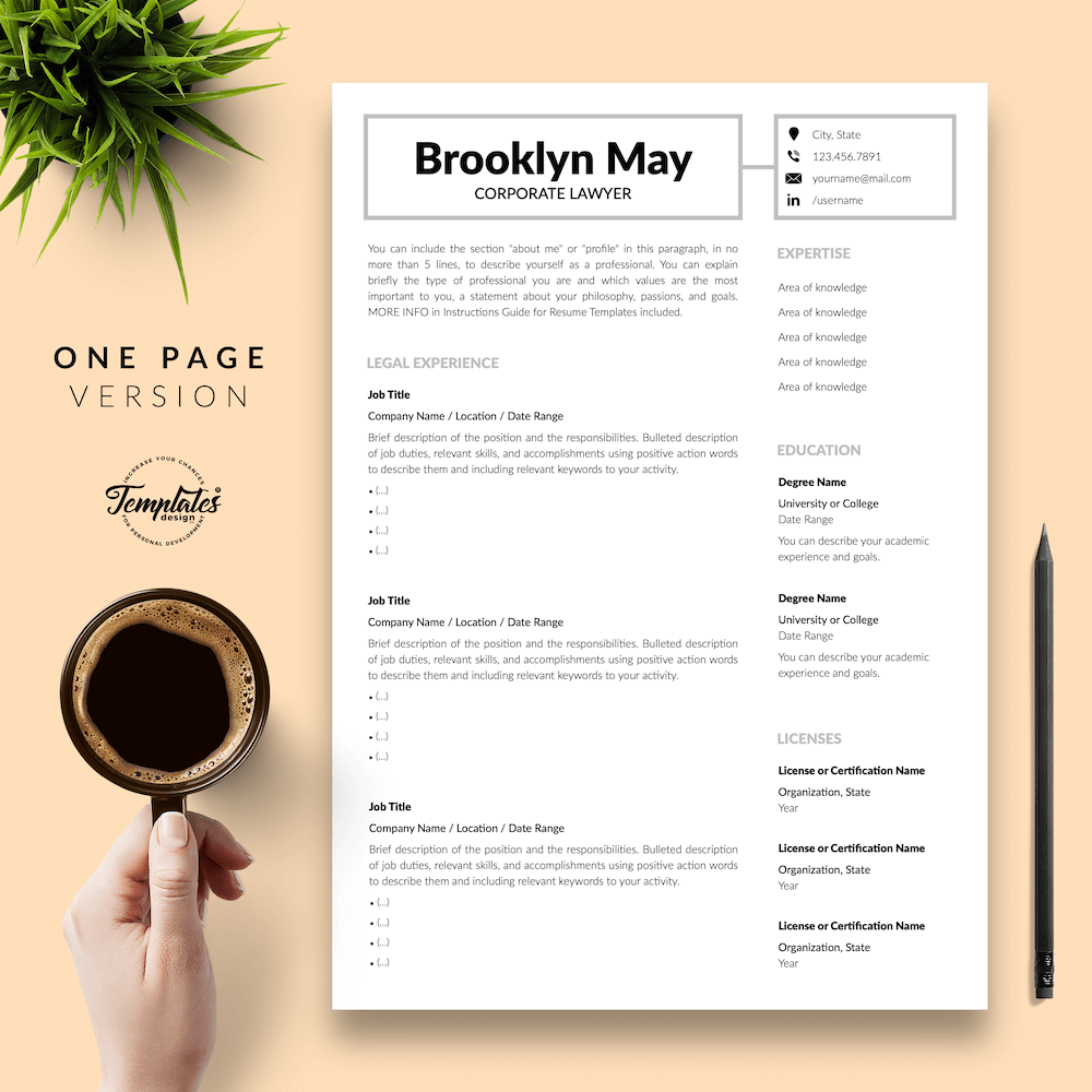 Corporate Lawyer Resume - Brookyn May 02 - One Page Version - New version