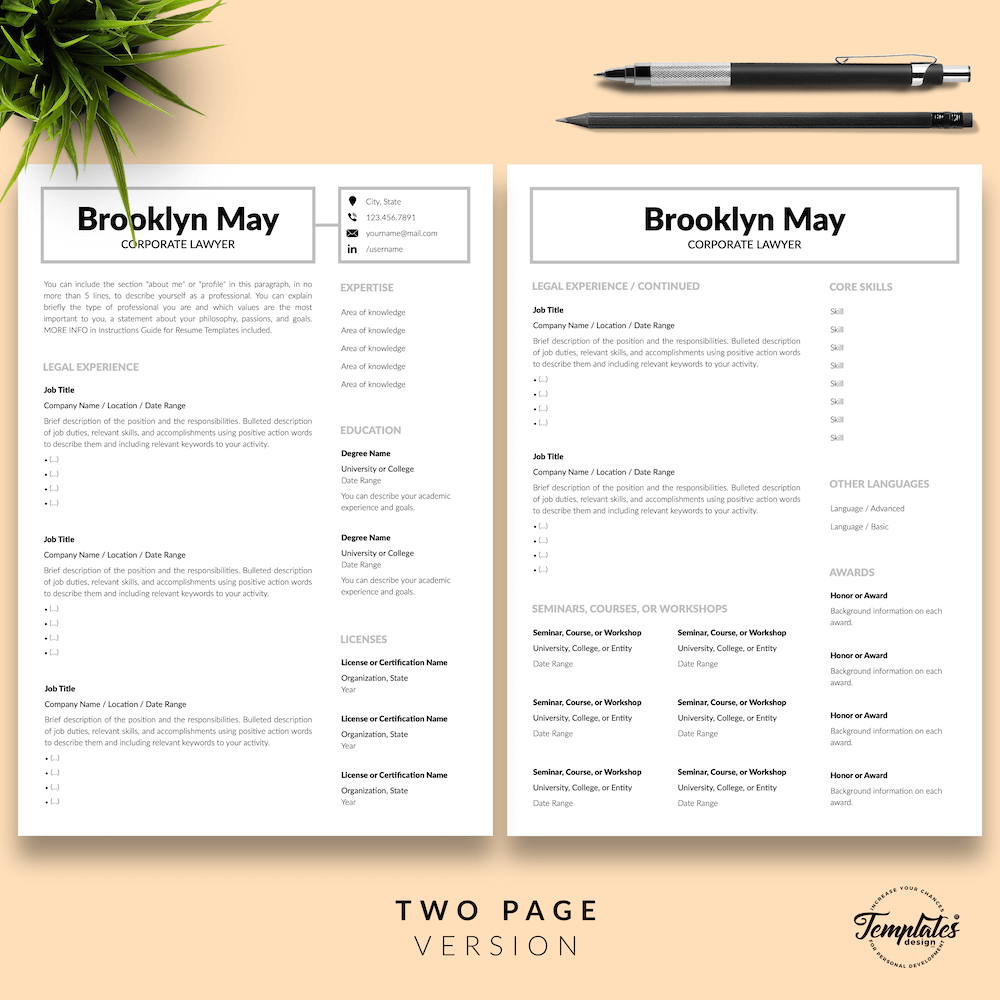 Corporate Lawyer Resume - Brookyn May 03 - Two Page Version - New version