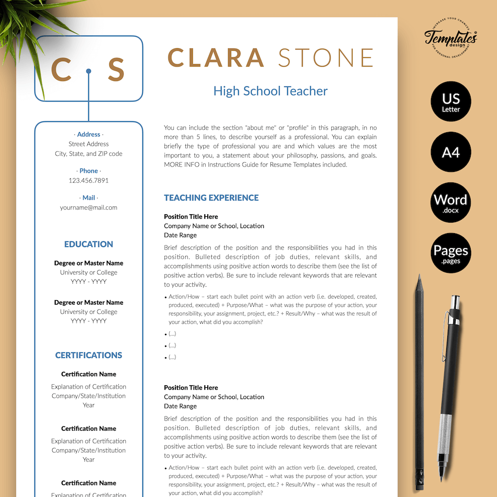 Creative Teacher Resume - Clara Stone 01 - Presentation - New version