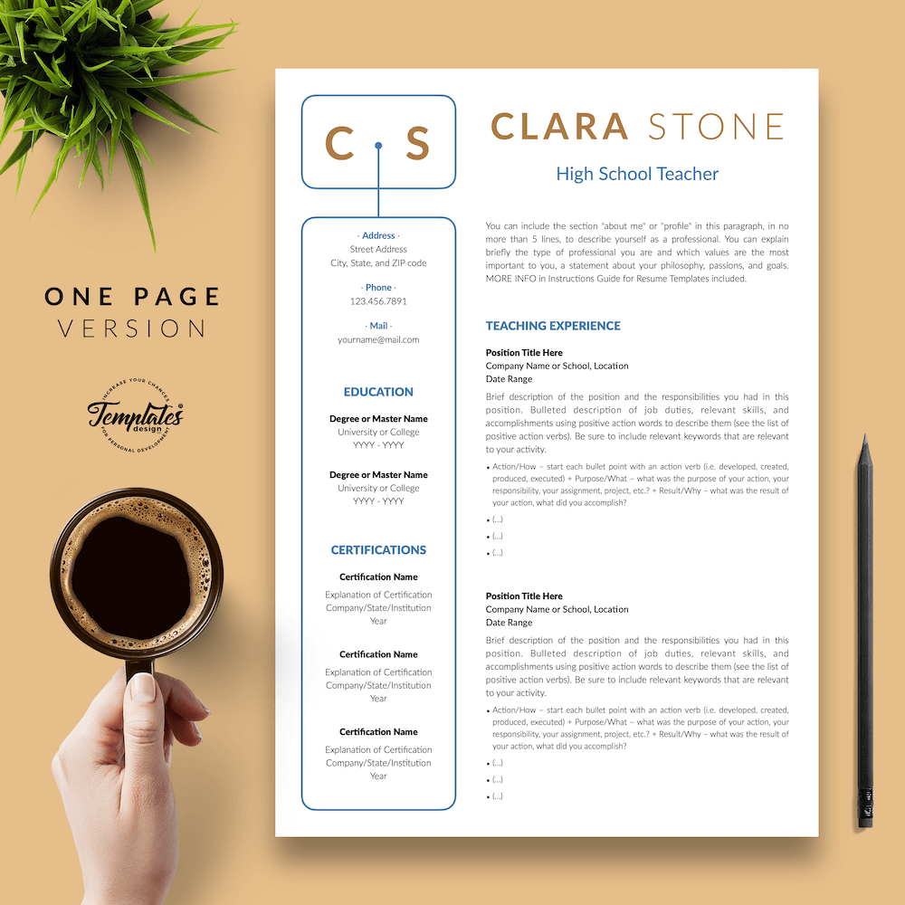 Creative Teacher Resume - Clara Stone 02 - One Page Version - New version