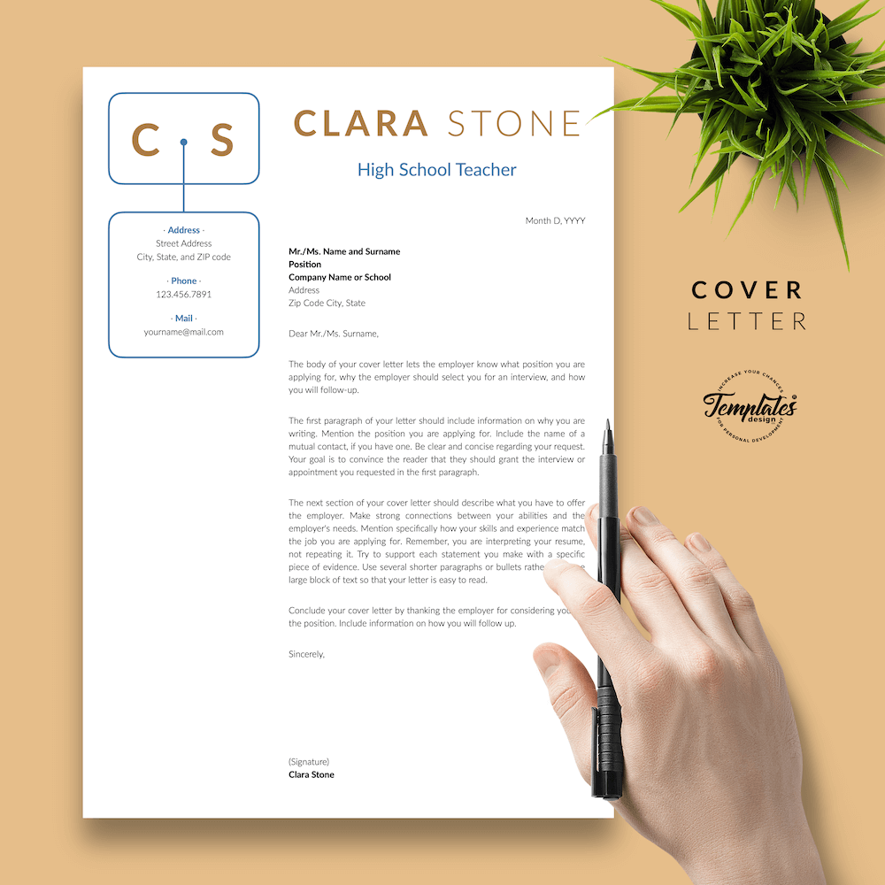 Creative Teacher Resume - Clara Stone 05 - Cover Letter - New version