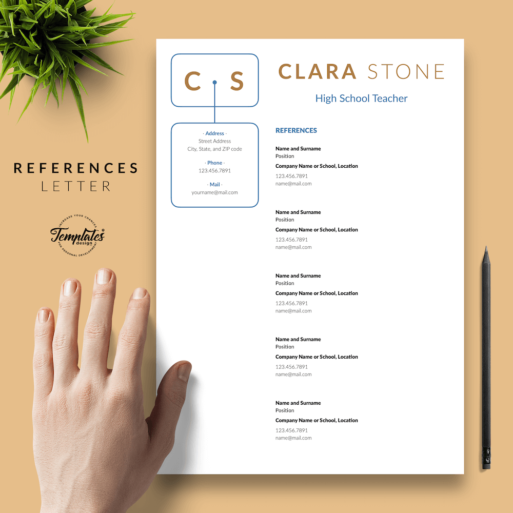Creative Teacher Resume - Clara Stone 06 - References - New version