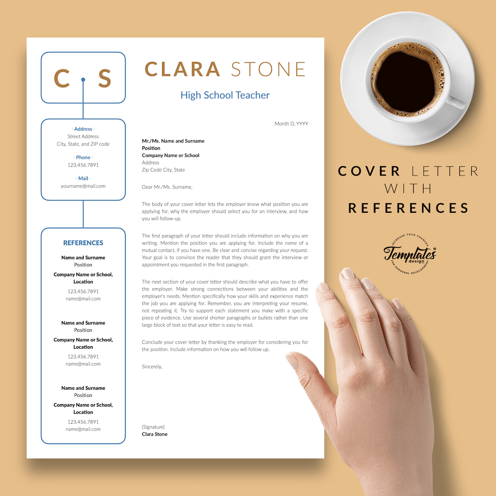 Creative Teacher Resume - Clara Stone 07 - Cover Letter with References - New version