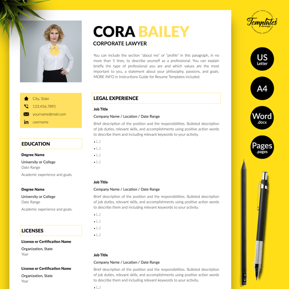 Lawyer Resume Template - Cora Bailey 01 - Presentation - New version