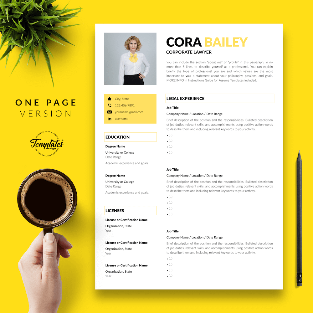 Lawyer Resume Template - Cora Bailey 02 - One Page Version - New version