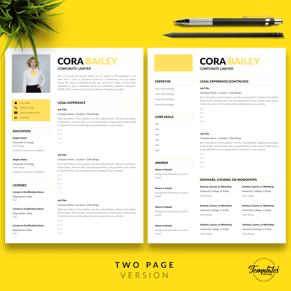 Lawyer Resume Template - Cora Bailey 03 - Two Page Version - New version