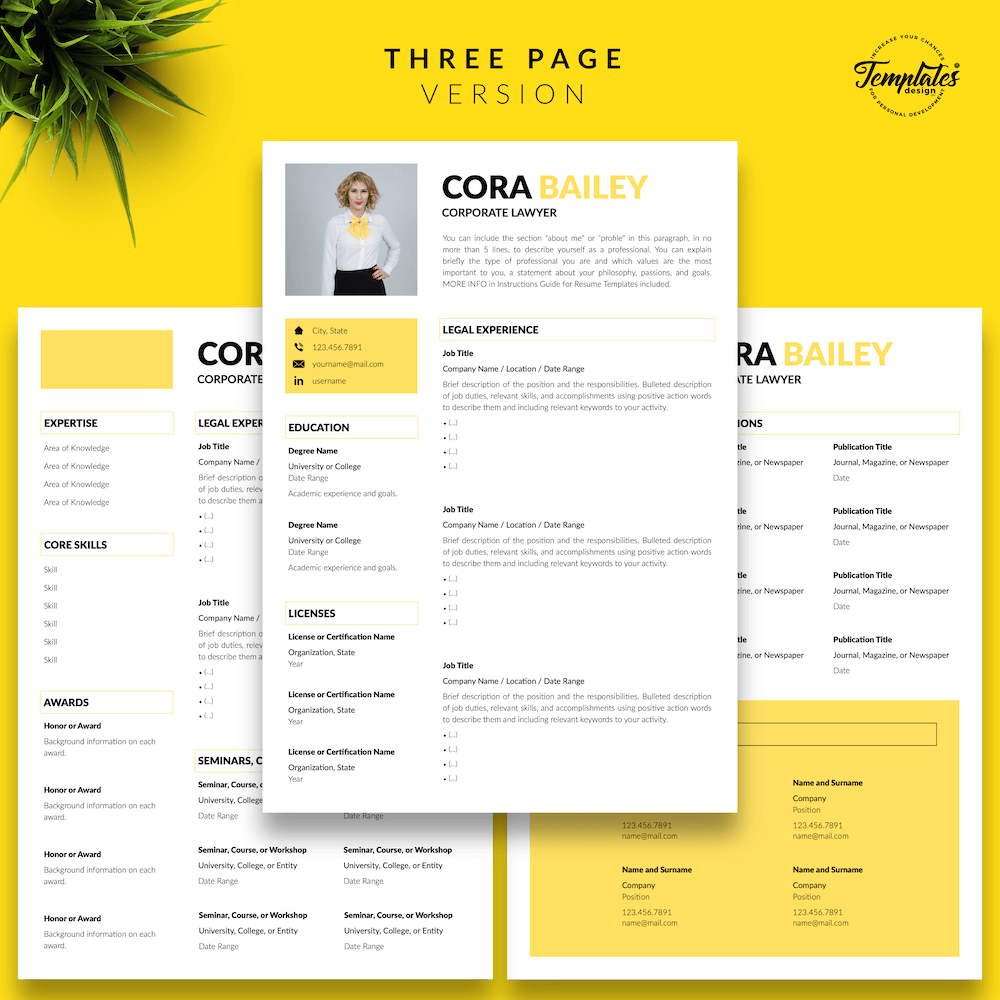 Lawyer Resume Template - Cora Bailey 04 - Three Page Version - New version