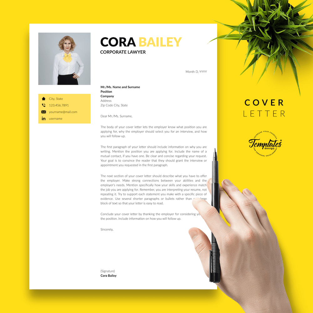 Lawyer Resume Template - Cora Bailey 05 - Cover Letter - New version