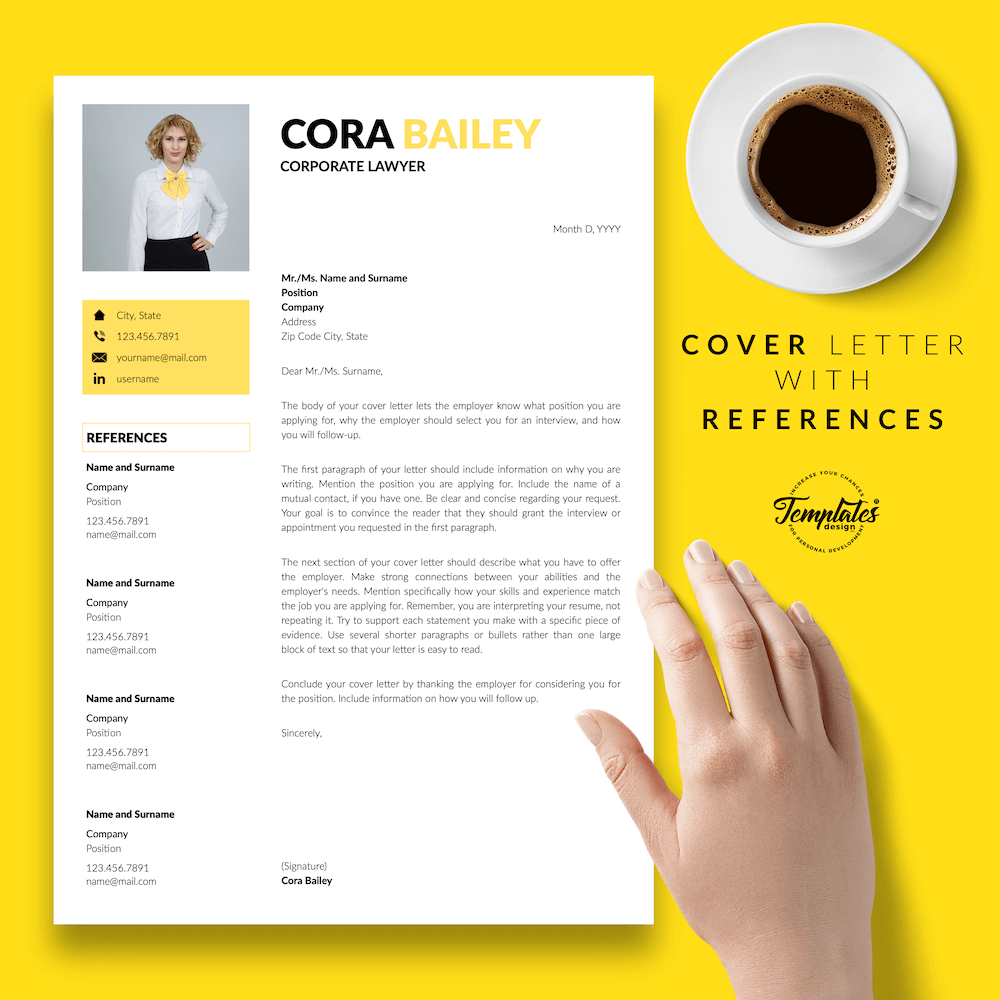 Lawyer Resume Template - Cora Bailey 07 - Cover Letter with References - New version