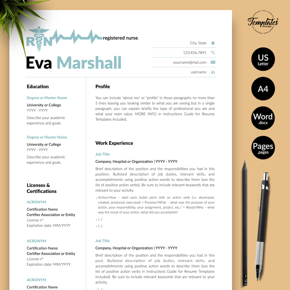 Professional Resume for Nurse - Eva Marshall 01 - Presentation - New version