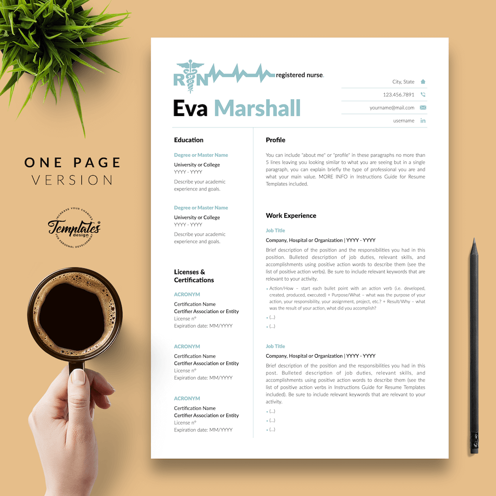 Professional Resume for Nurse - Eva Marshall 02 - One Page Version - New version