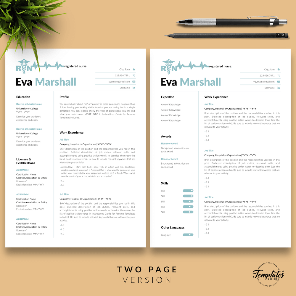 Professional Resume for Nurse - Eva Marshall 03 - Two Page Version - New version