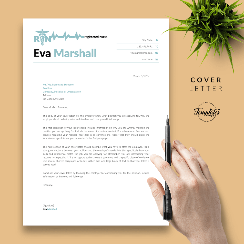 Professional Resume for Nurse - Eva Marshall 05 - Cover Letter - New version