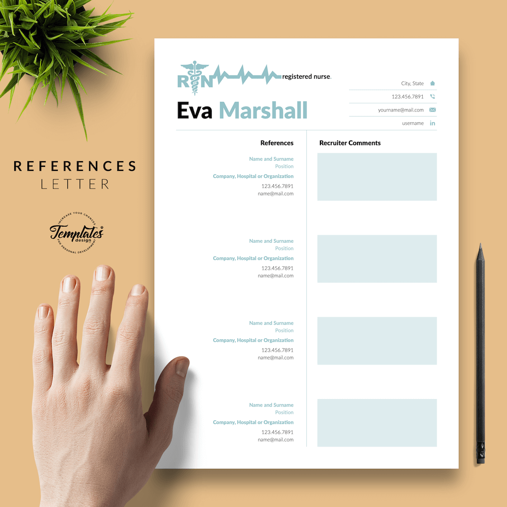 Professional Resume for Nurse - Eva Marshall 06 - References - New version