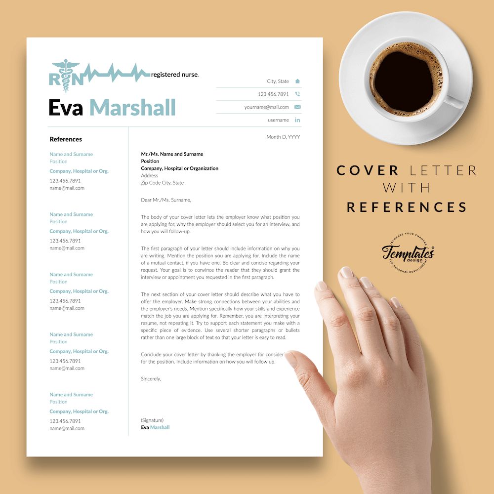 Professional Resume for Nurse - Eva Marshall 07 - Cover Letter with References - New version