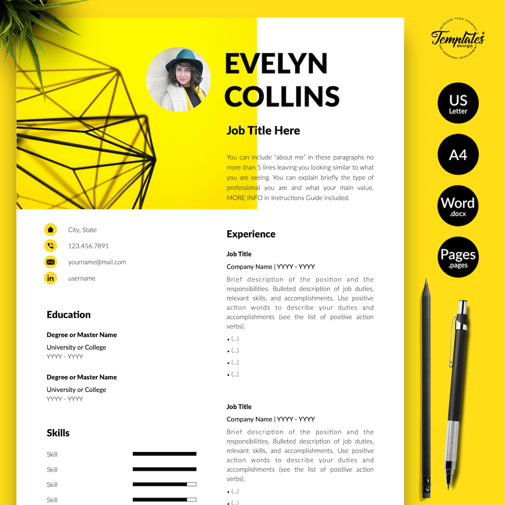 Modern Resume for Engineer - Evelyn Collins 01 - Presentation - New version