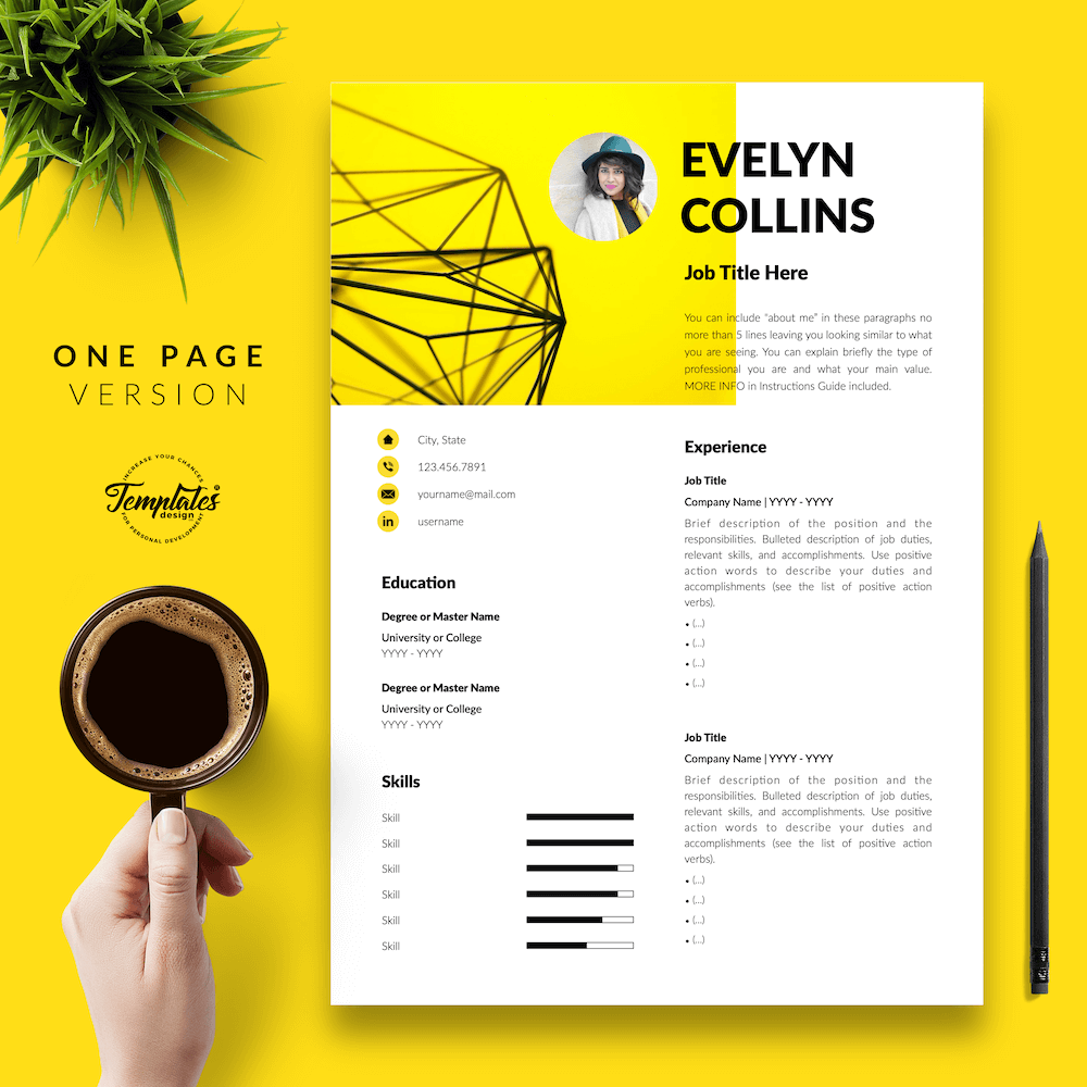 Modern Resume for Engineer - Evelyn Collins 02 - One Page Version - New version