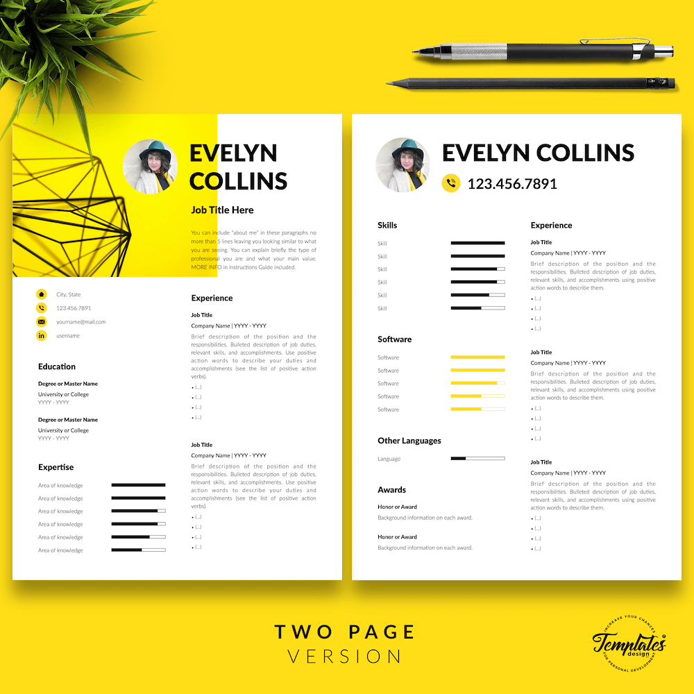 Modern Resume for Engineer - Evelyn Collins 03 - Two Page Version - New version