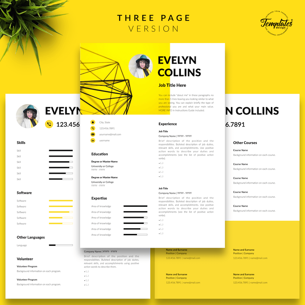 Modern Resume for Engineer - Evelyn Collins 04 - Three Page Version - New version