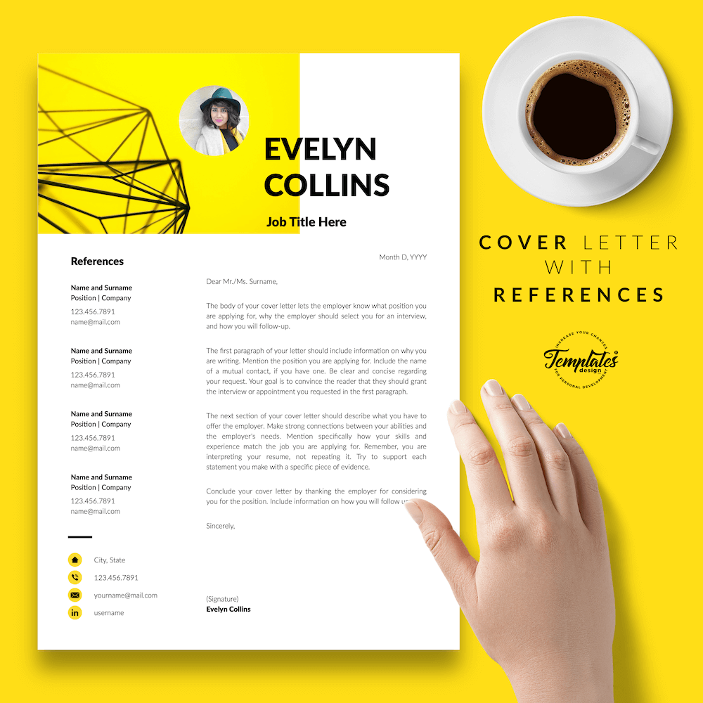 Modern Resume for Engineer - Evelyn Collins 07 - Cover Letter with References - New version