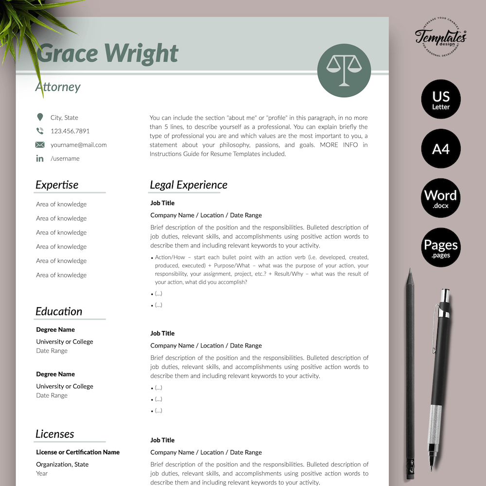 Legal Resume Template - Grace Wright 01 - Presentation - New version