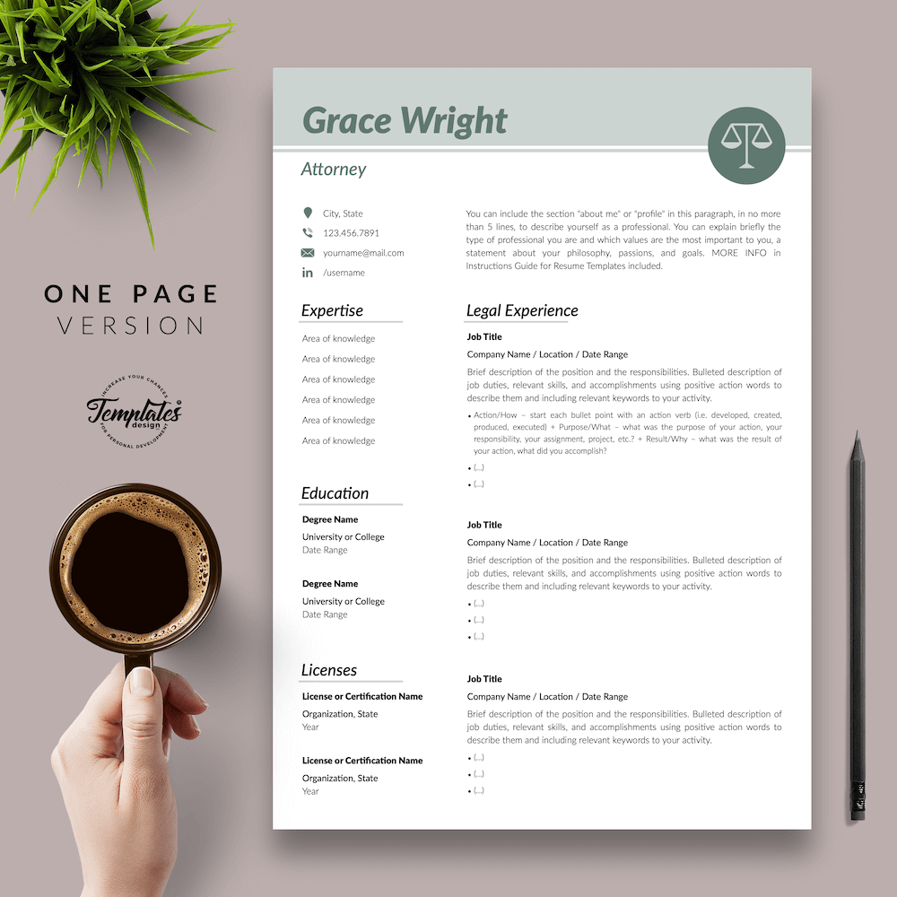 Legal Resume Template - Grace Wright 02 - One Page Version - New version
