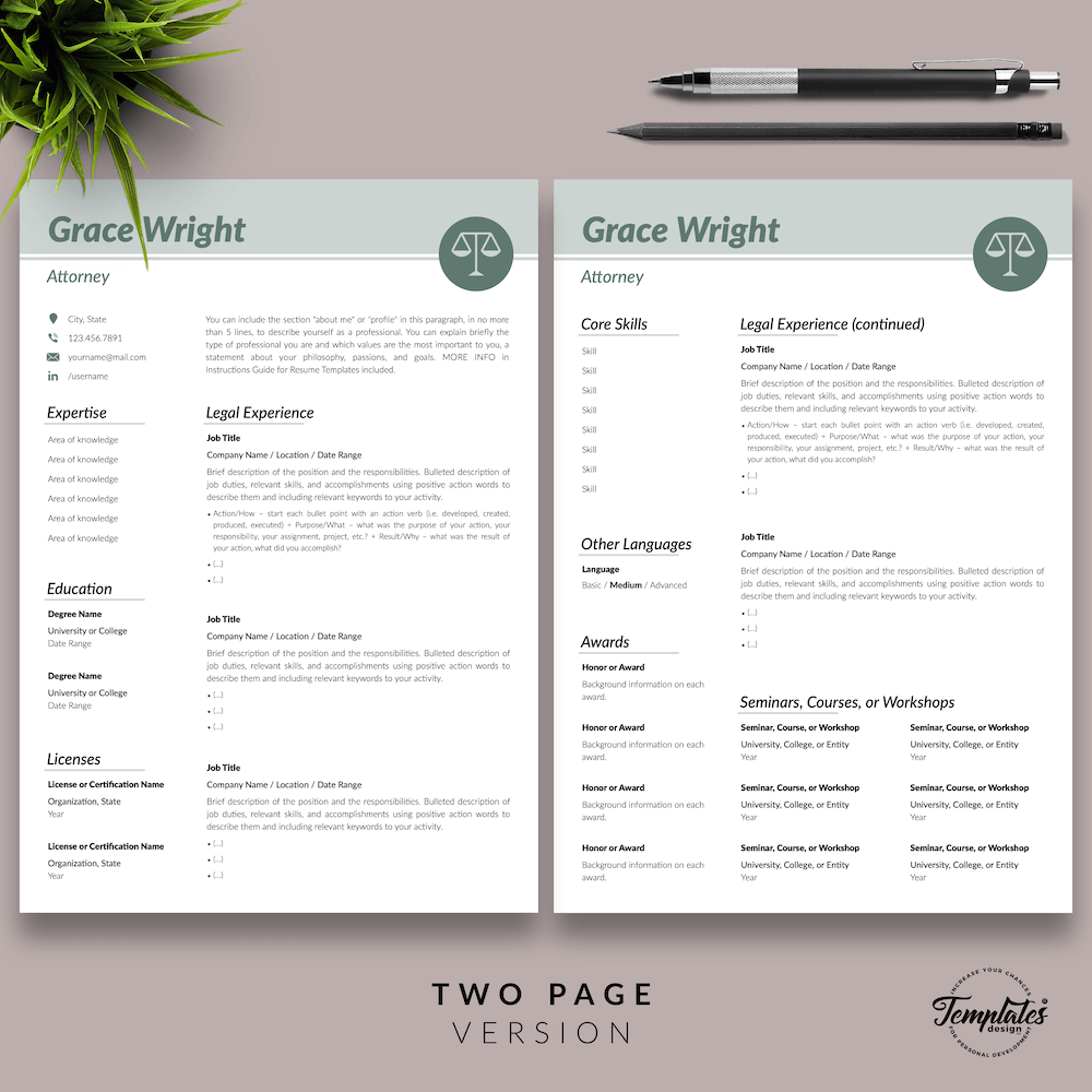 Legal Resume Template - Grace Wright 03 - Two Page Version - New version