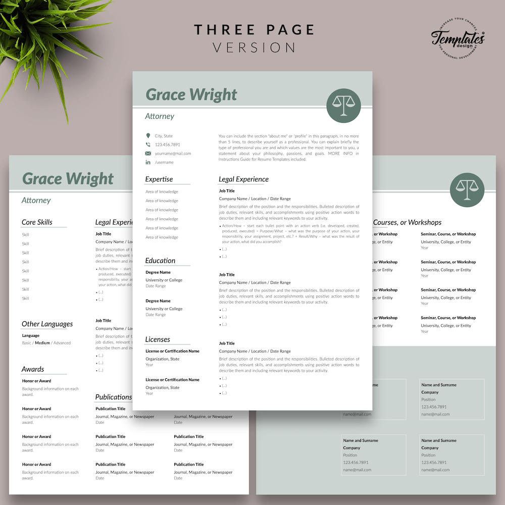 Legal Resume Template - Grace Wright 04 - Three Page Version - New version