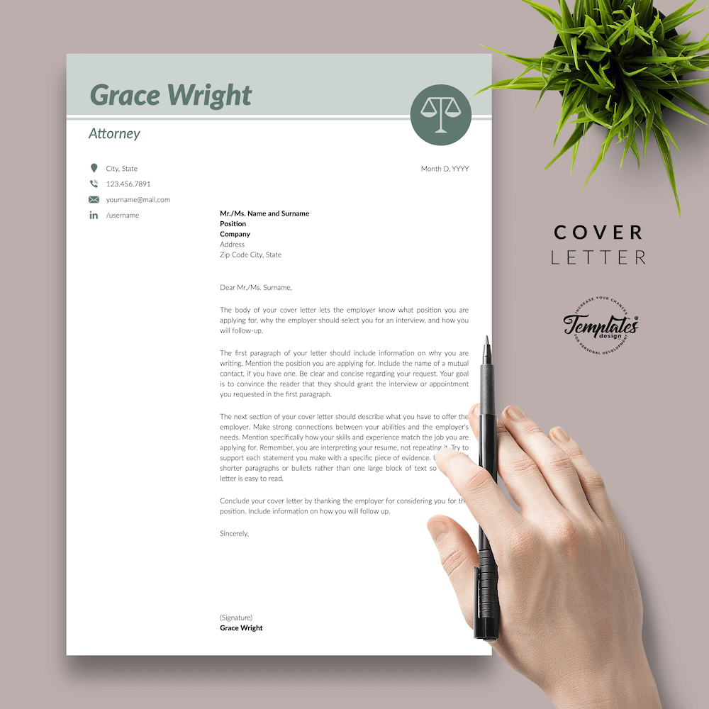 Legal Resume Template - Grace Wright 05 - Cover Letter - New version
