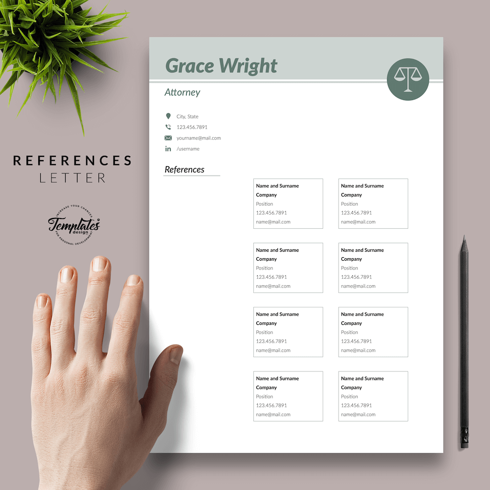 Legal Resume Template - Grace Wright 06 - References - New version