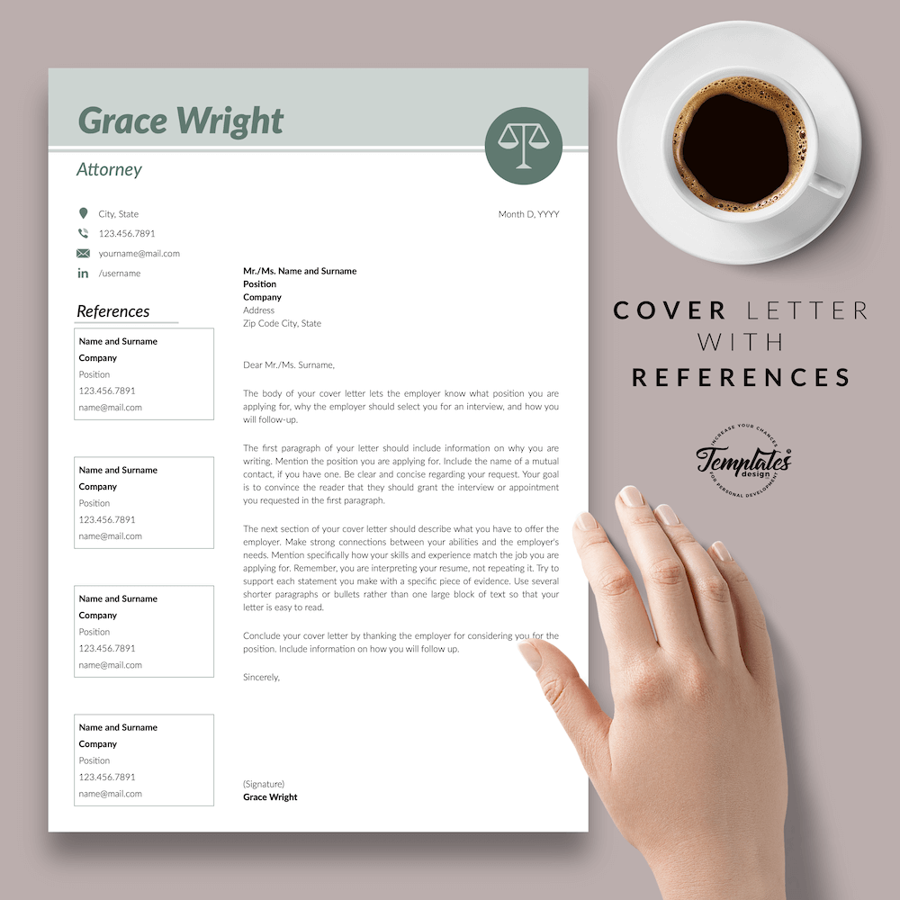 Legal Resume Template - Grace Wright 07 - Cover Letter with References - New version