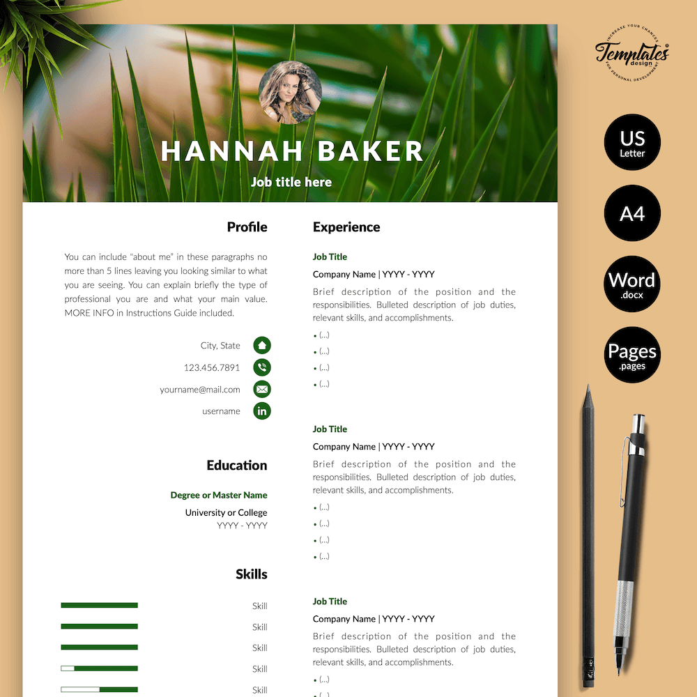 Resume for Nature Jobs - Hannah Baker 01 - Presentation - New version