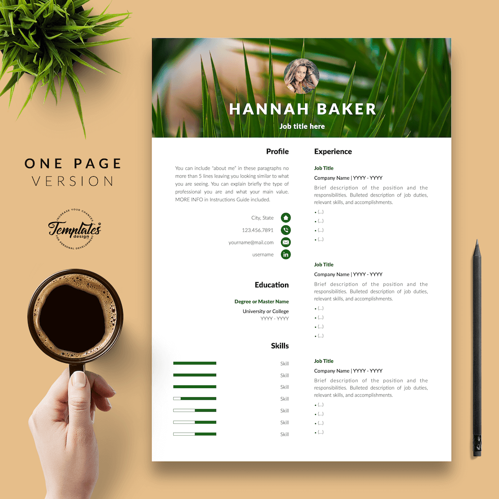 Resume for Nature Jobs - Hannah Baker 02 - One Page Version - New version