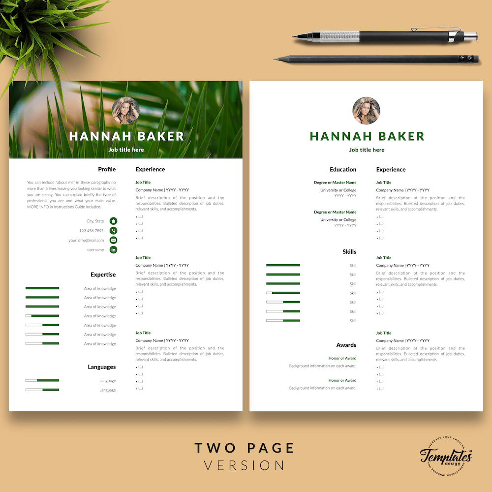 Resume for Nature Jobs - Hannah Baker 03 - Two Page Version - New version