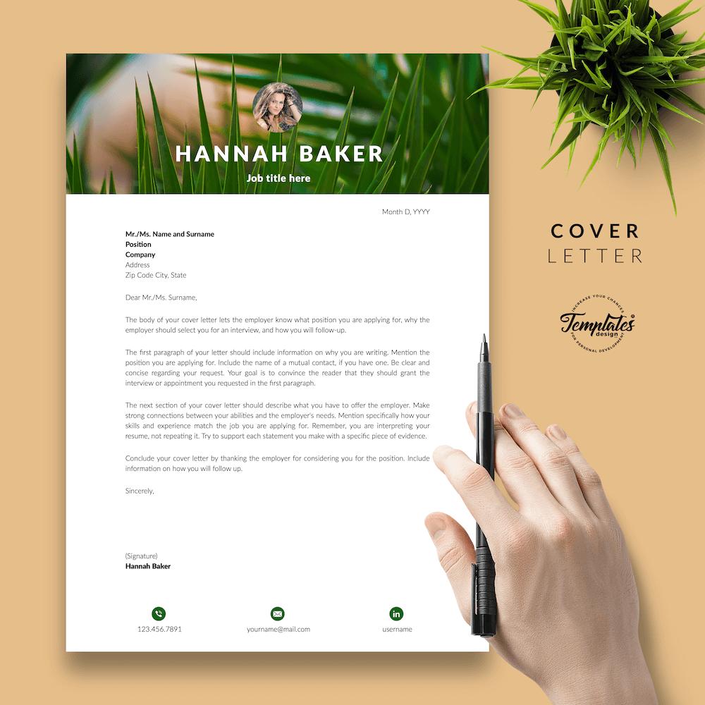 Resume for Nature Jobs - Hannah Baker 05 - Cover Letter - New version