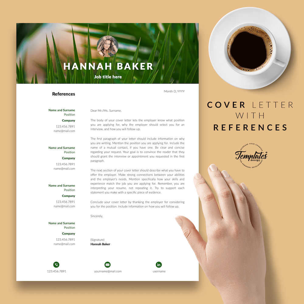 Resume for Nature Jobs - Hannah Baker 07 - Cover Letter with References - New version