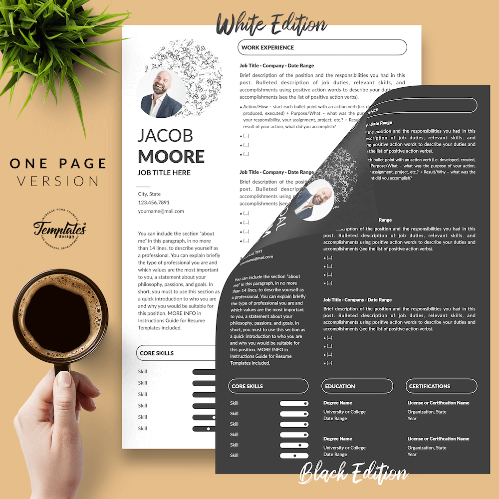 Creative Resume for Finance - Jacob Moore (2in1 Special Edition) 02 - One Page Version - New version