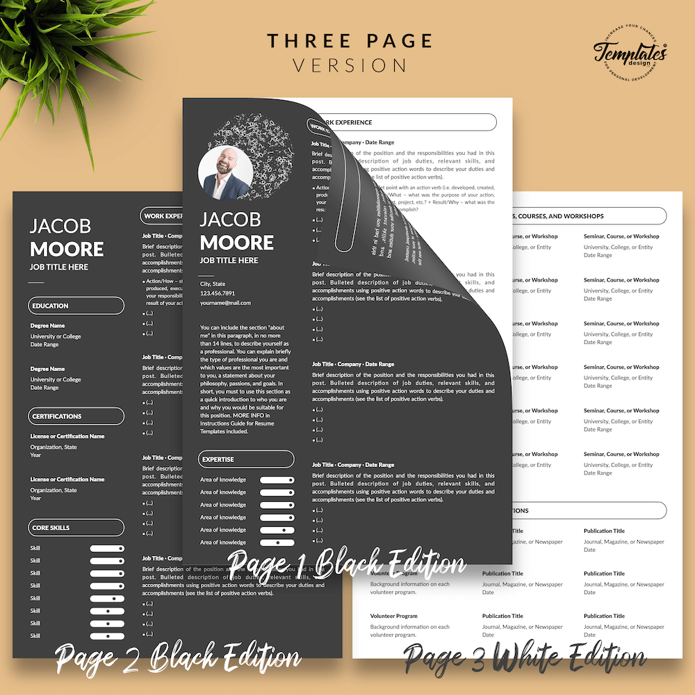 Creative Resume for Finance - Jacob Moore (2in1 Special Edition) 04 - Three Page Version - New version