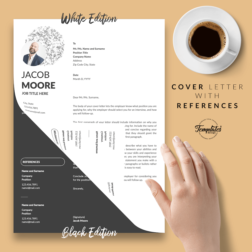 Creative Resume for Finance - Jacob Moore (2in1 Special Edition) 07 - Cover Letter with References - New version