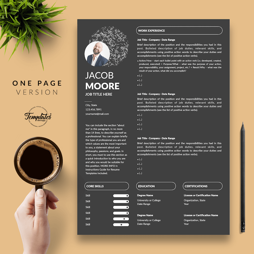 Creative Resume for Finance - Jacob Moore (Black Edition) 02 - One Page Version - New version