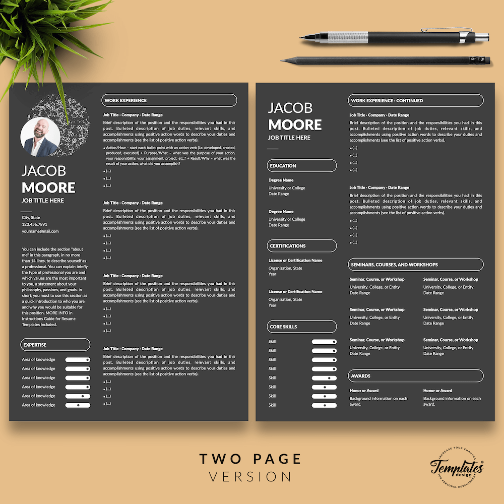 Creative Resume for Finance - Jacob Moore (Black Edition) 03 - Two Page Version - New version
