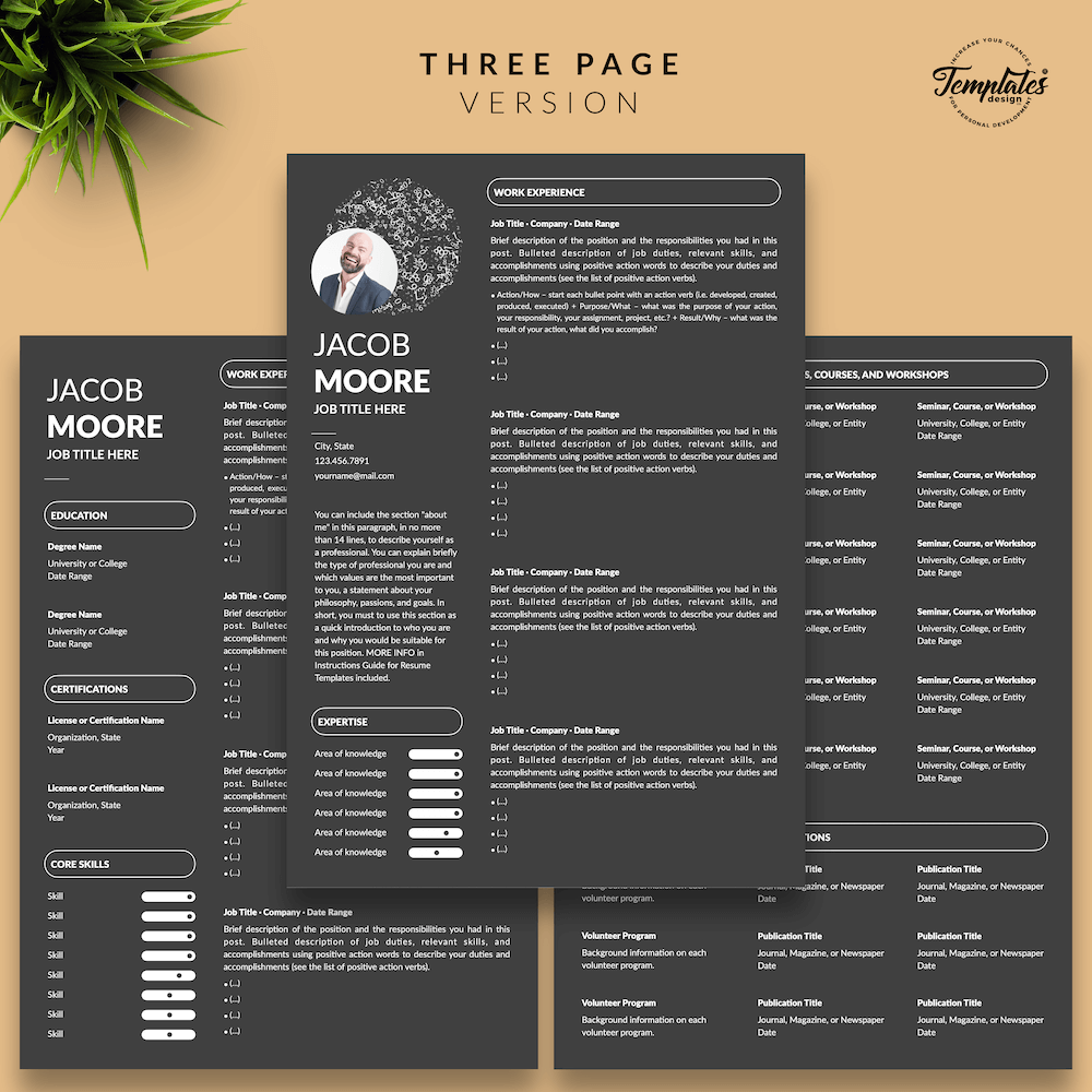 Creative Resume for Finance - Jacob Moore (Black Edition) 04 - Three Page Version - New version